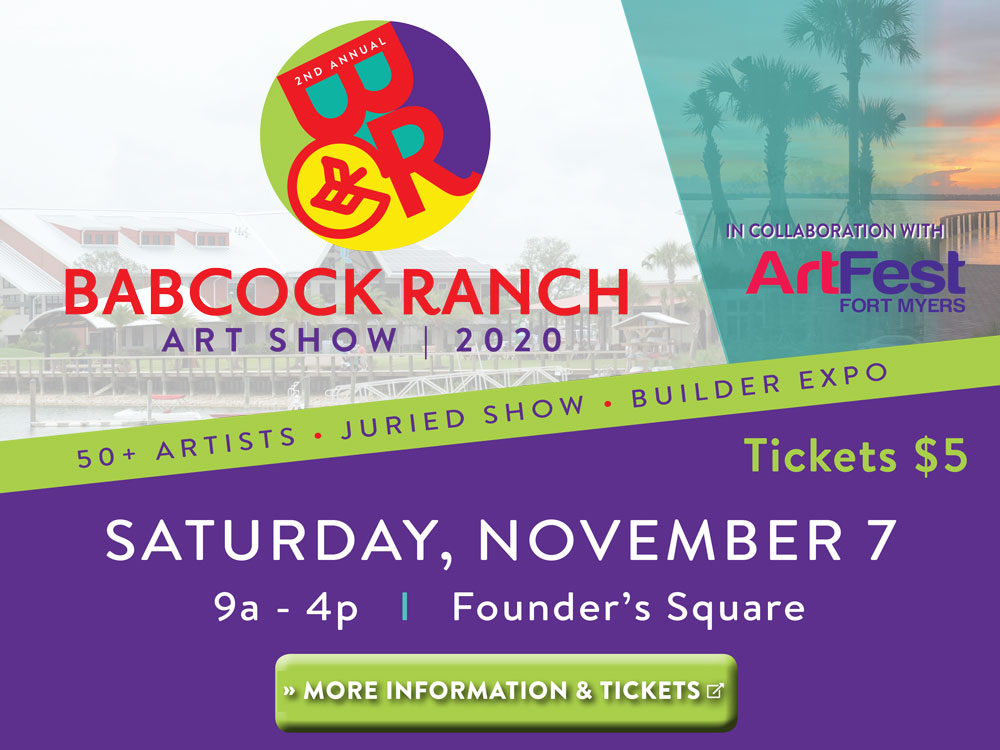 Babcock Ranch Art Show 2020 - In collaboration with ArtFest Fort Myers. 50+ Artists, Juried Show, Builder expo. Tickets $5. Saturday, November 7, 9AM - 4PM at founder's square. Click here for more information and to buy tickets.