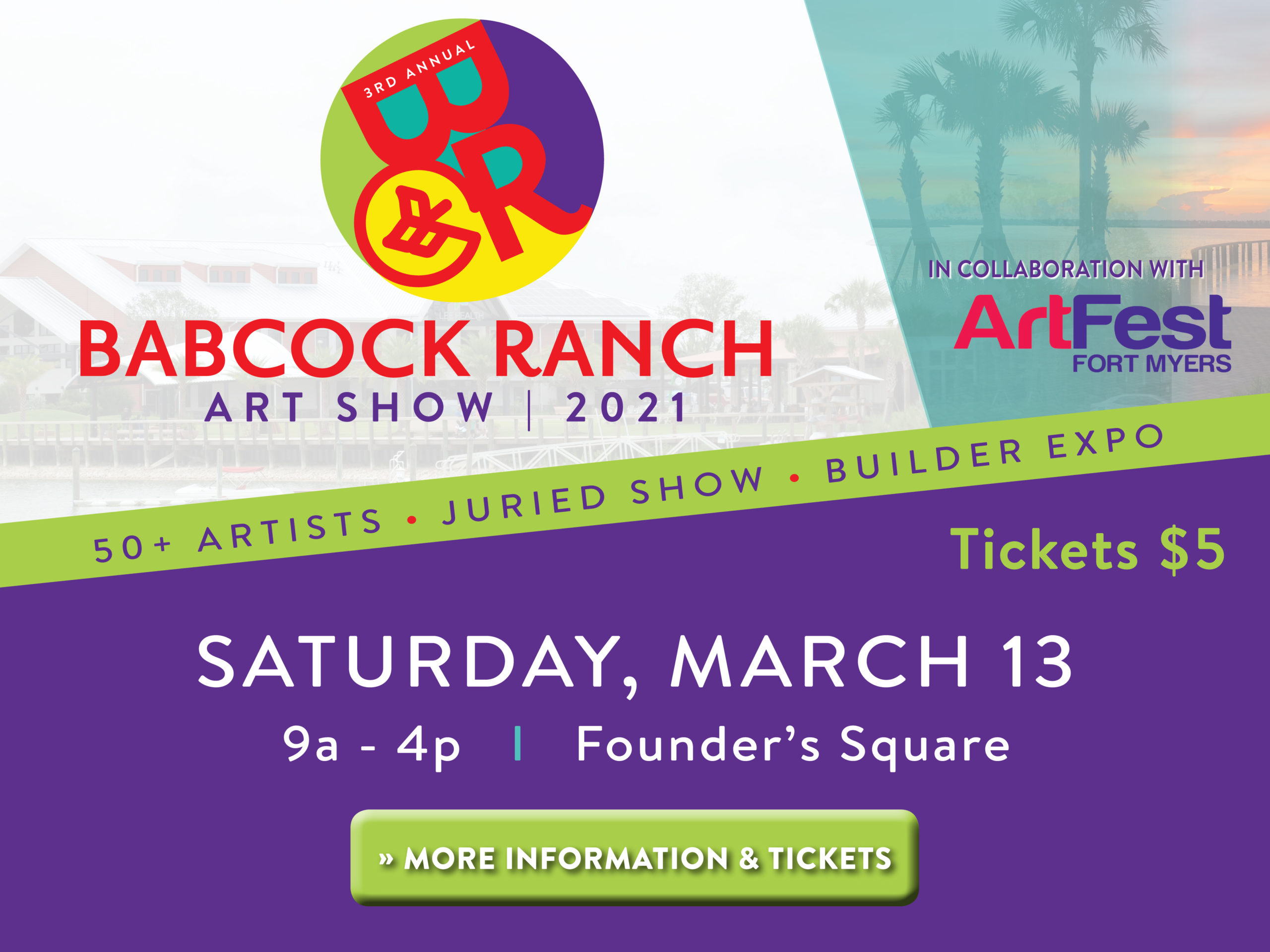 Babcock Ranch Art Show 2021 - In collaboration with ArtFest Fort Myers. 50+ artists, juried show, builder expo. Tickets are $5. Saturday, March 13 at 9:00AM - 4:00PM at Founder's Square. Click here for more information and tickets.